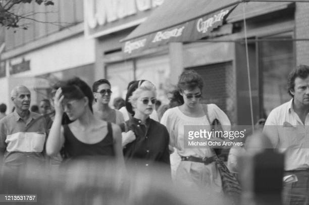American singer and actress Madonna with actress Lorraine Bracco and actor Harvey Keitel in New York City 1986 All three are starring in the play...