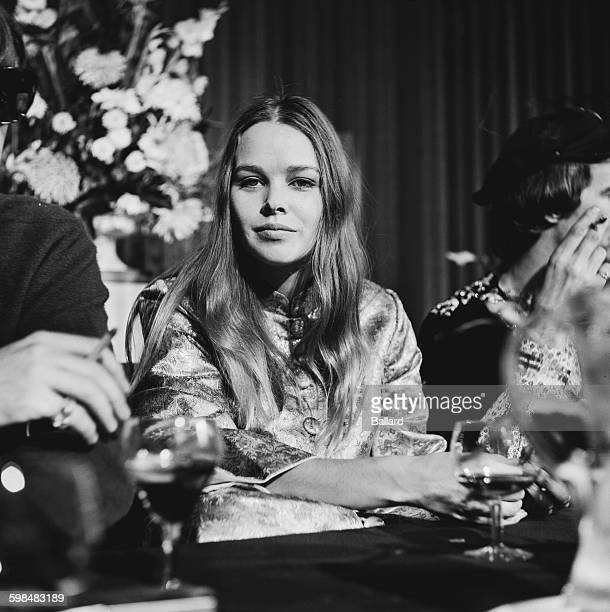 American singer and actress Michelle Phillips of American folk rock group The Mamas The Papas at a press conference UK 5th October 1967