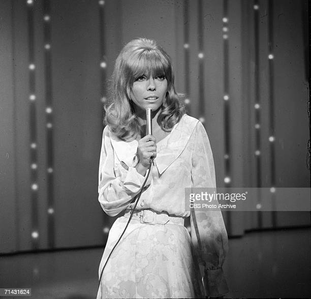 American singer and actress Nancy Sinatra performs on an episode of the CBS Television variety show 'The Ed Sullivan Show' New York New York May 20...