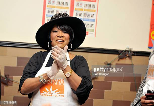 American singer and actress Patti LaBelle attends and provides holiday meals to New Yorkers in need at Food Bank for New York City's Community...