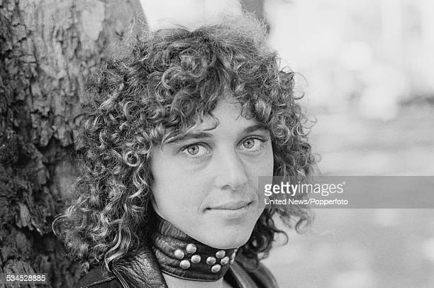 American singer and bass guitarist Suzi Quatro posed in London on 2nd August 1976