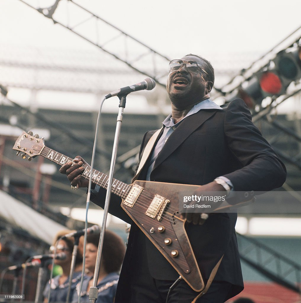 Albert King (1923-1992), U.S. blues guitarist and singer, performs on stage as part of the Newport Jazz Festival, held in New York City, New York, USA, in July 1977.
