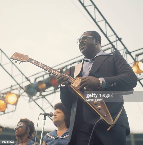 Albert King performs on stage as part of the Newport Jazz Festival held in New York City in July 1977