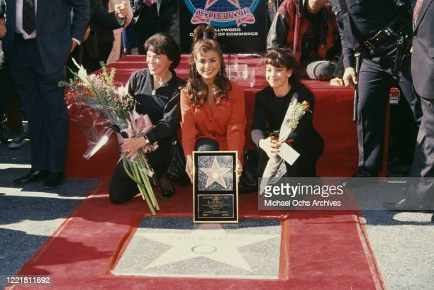American singer and dancer Paula Abdul with her mother Canadian pianist Lorraine Rykiss and sister Wendy Mandel during Abdul's Hollywood Walk of Fame...