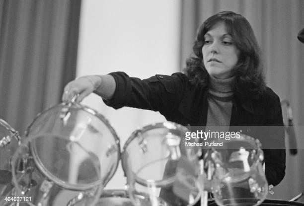 American singer and drummer Karen Carpenter of pop duo The Carpenters performing in Frankfurt West Germany 16th February 1974