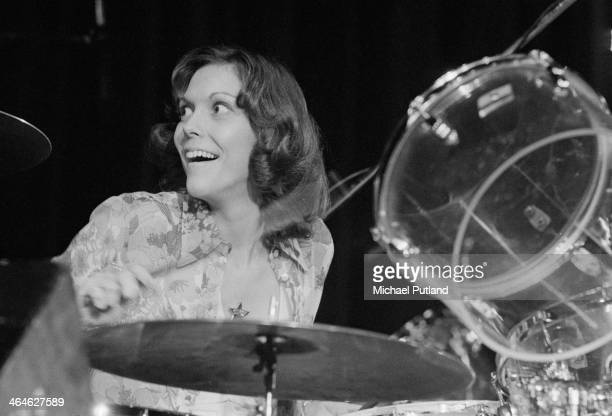 American singer and drummer Karen Carpenter of pop duo The Carpenters performing on a European tour February 1974