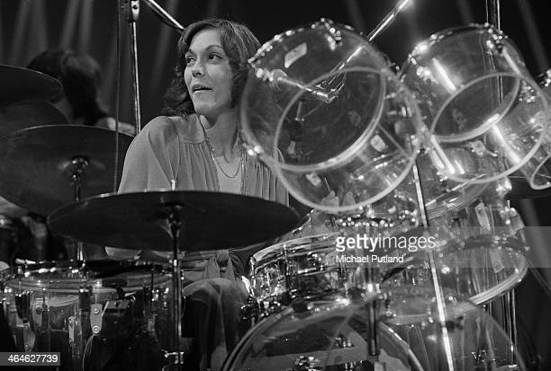 American singer and drummer Karen Carpenter of pop duo The Carpenters performing in Amsterdam Netherlands February 1974