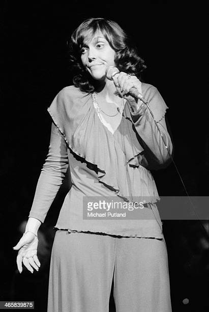 American singer and drummer Karen Carpenter of pop duo The Carpenters performing on stage 22nd February 1974