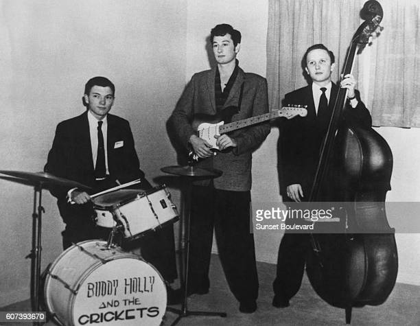 American singer and guitarist Buddy Holly with his band, drummer Jerry Allison and bassist Joe B.Mauldin.