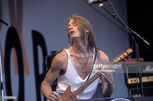 American singer and guitarist Chris Whitley performs live on stage at Parkpop in The Hague, Netherlands on 28th June 1992.