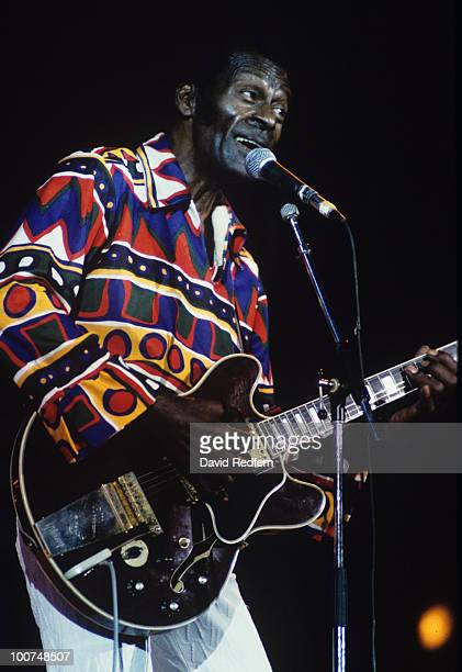 American singer and guitarist Chuck Berry performs on stage at the Jazz A Juan Festival held in Antibes France on July 24 1990