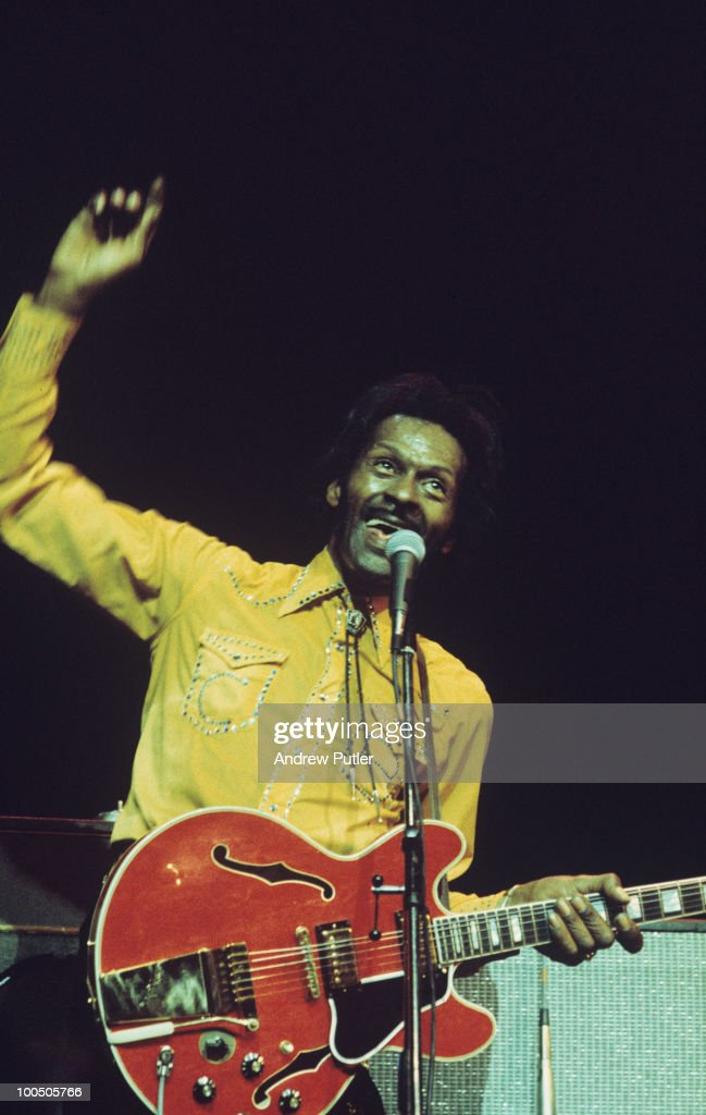 American singer and guitarist Chuck Berry performs on stage at the New Victoria theatre in London, England on May 21, 1976.