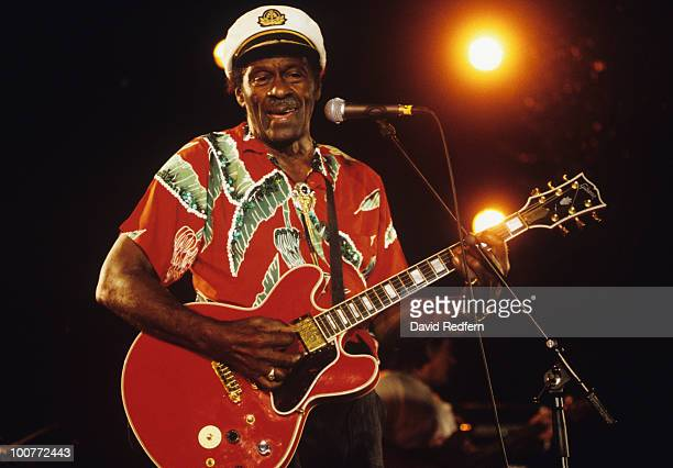 American singer and guitarist Chuck Berry performs on stage at the Nice Jazz Festival held in Nice France on July 17 1998