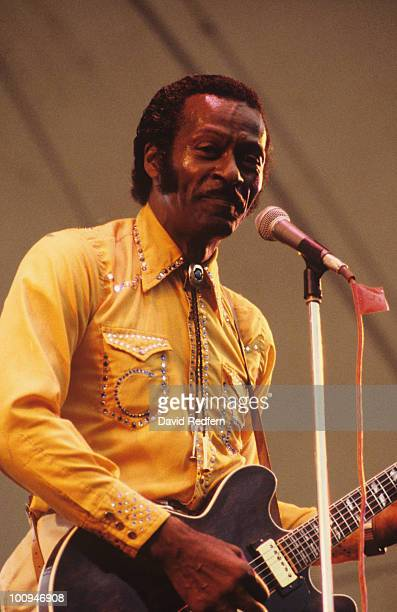 American singer and guitarist Chuck Berry performs on stage at the Capital Jazz Festival held at Alexandra Palace in London England in July 1979