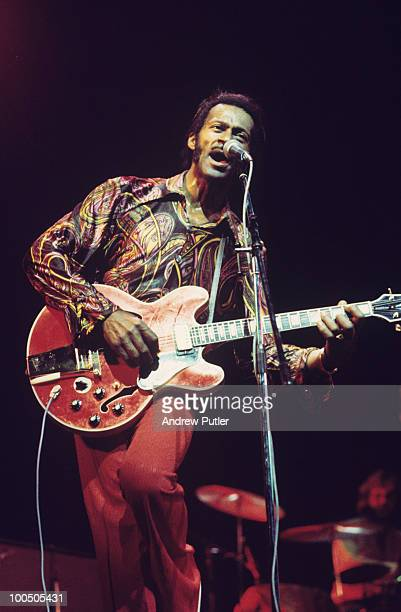 American singer and guitarist Chuck Berry performs on stage in 1972