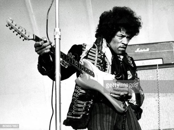 American singer and guitarist Jimi Hendrix performs on stage on May 24 1967 at Grona Lund in Stockholm Sweden Svenska Dagbladet /