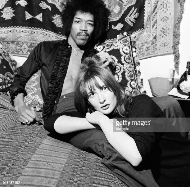 American singer and guitarist Jimi Hendrix with girlfriend Kathy Etchingham in his Mayfair flat London 7th January 1969