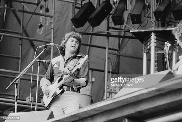 American singer and guitarist Steve Miller performing with the Steve Miller Band at the Knebworth Festival, Knebworth House, Hertfordshire, 5th July...