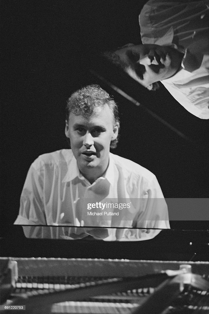 American singer and keyboard player Bruce Hornsby at the piano, 1986.