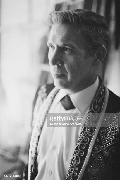 American singer and musician Buck Owens on the set of 'The Jimmy Dean Show', USA, 13th November 1964.