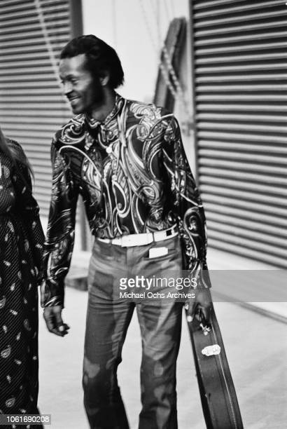 American singer and musician Chuck Berry at Madison Square Garden in New York City for the making of the concert film 'Let the Good Times Roll' 1972