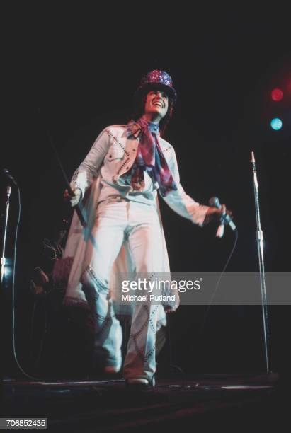 American singer and musician Donny Osmond performs live on stage with American pop group The Osmonds at one of their two Earls Court concerts London...