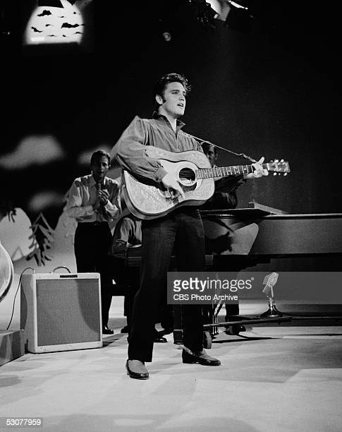 American singer and musician Elvis Presley performs on 'The Ed Sullivan Show,' Los Angeles, California, September 9, 1956.