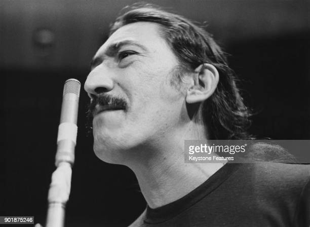 American singer and musician Jimmy Carl Black performs at the Royal Festival Hall in London as frontman of rock band The Mothers of Invention October...