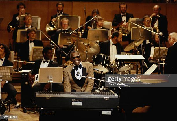 American singer and musician Ray Charles performs on stage with his orchestra during the 1980's