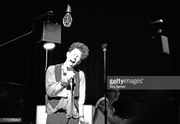 American singer and musician Tom Waits performs on stage at the Eugene O'Neill Theatre , New York, New York, October 16, 1987.