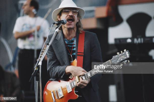 American singer and rock guitarist Joe Walsh performs live on stage at the Guitar Legends concert in Seville Spain in October 1991