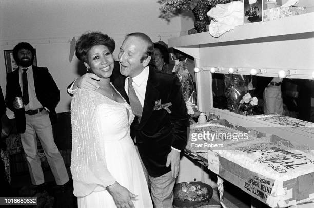 American singer and songwriter Aretha Franklin and American record producer AR executive and music industry executive Clive Davis backstage at City...