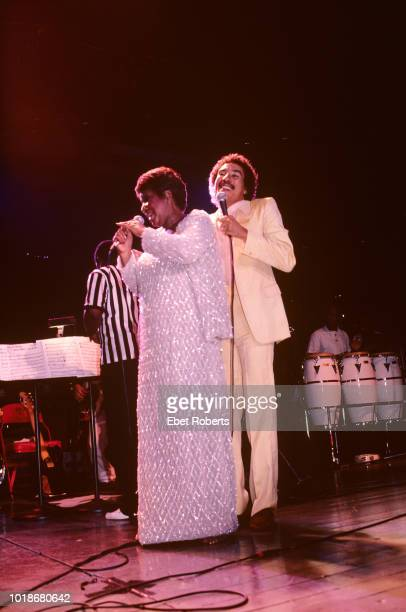 American singer and songwriter Aretha Franklin and American singer songwriter record producer Smokey Robinson performing at Madison Square Garden in...