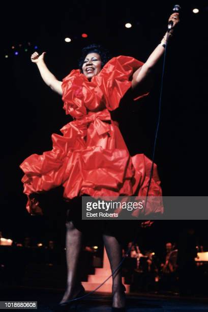 American singer and songwriter Aretha Franklin performing at Radio City Music Hall in New York City on September 13 1991