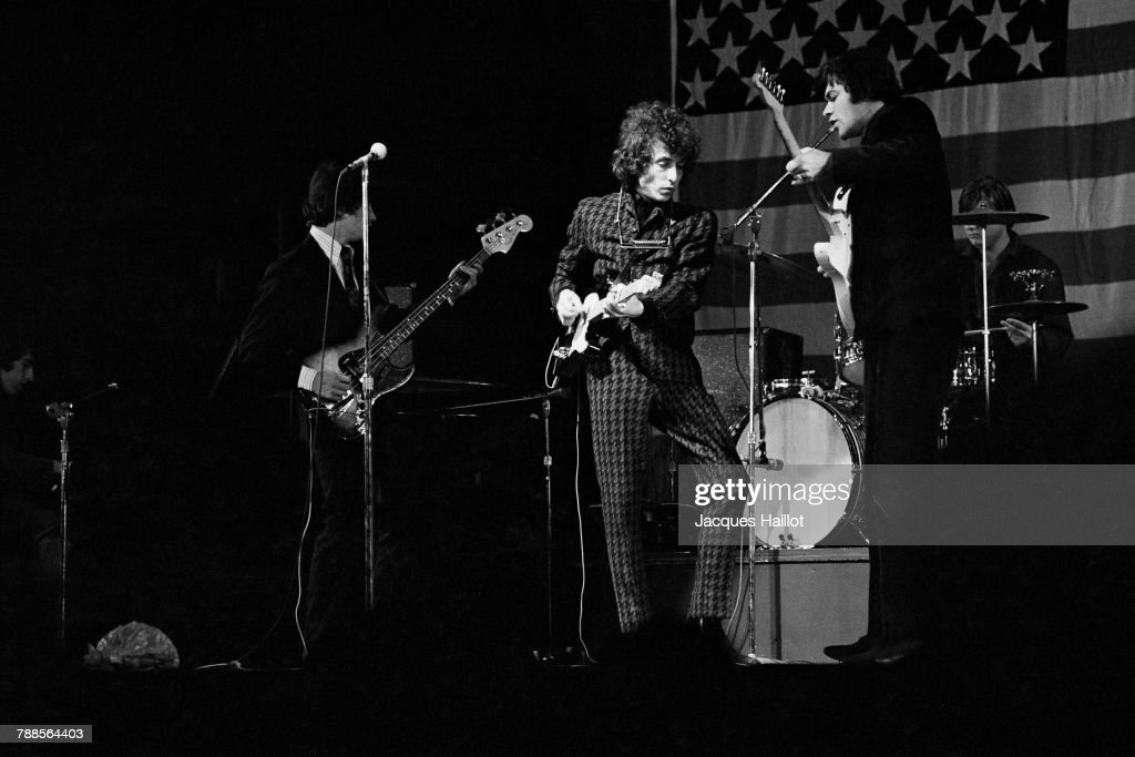 American singer and songwriter Bob Dylan on stage in Paris.