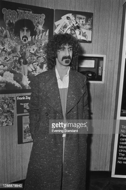 American singer and songwriter Frank Zappa at the premiere of his film '200 Motels' in London, UK, November 1971.