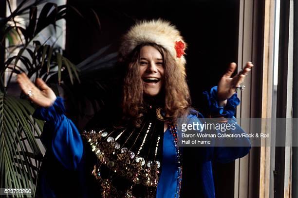 American singer and songwriter Janis Joplin at Spaulding Taylor's house San Francisco January 1968
