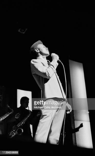 American singer and songwriter Johnnie Taylor performs at the Apollo Theater in New York City 1968