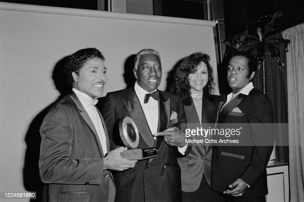 American singer and songwriter Little Richard wins the Black Legend Award at the 1985 Black Gold Awards at the Cocoanut Grove, Ambassador Hotel, Los...