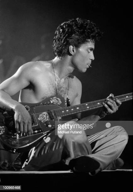 American singer and songwriter Prince performing at Wembley London 1986
