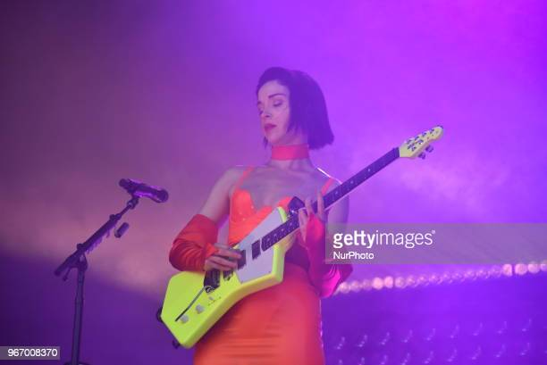 American singer and songwriter St Vincent performs on stage at APE Presents festival at Victoria Park London on June 3 2018