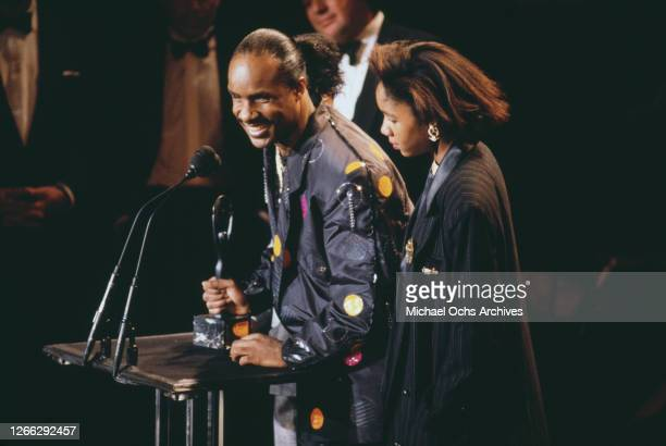 American singer and songwriter Stevie Wonder with his trophy at the Rock Roll Hall of Fame Induction Ceremony in New York City 18th January 1989 His...