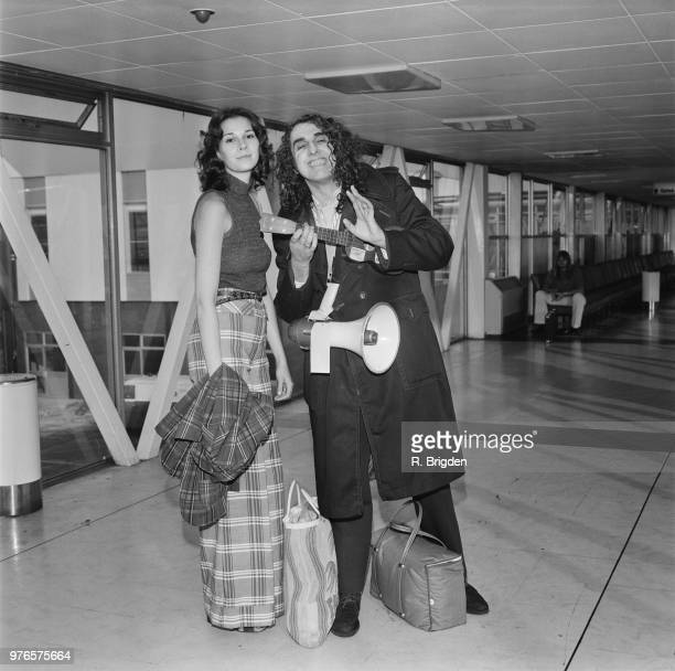 American singer and ukulele player Tiny Tim with his wife Victoria Budinger 'Miss Vicki' at Heathrow Airport London UK 10th September 1973