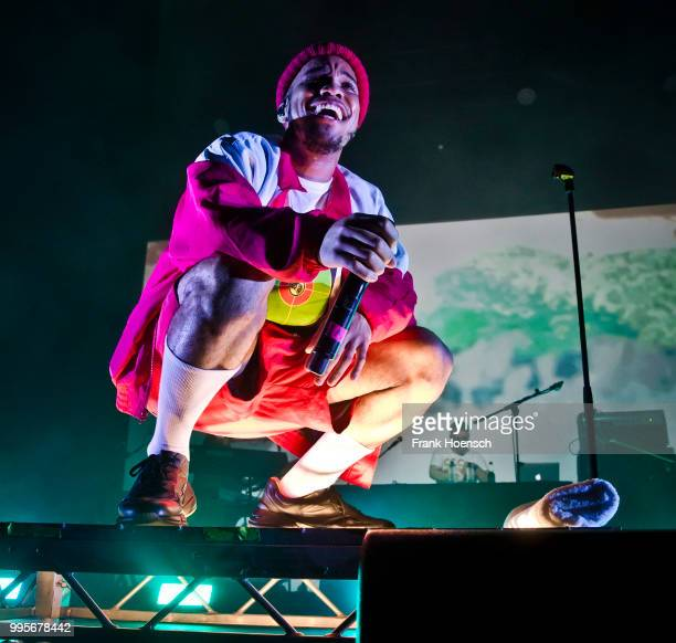 American Singer Anderson Paak performs live on stage during a concert at the Columbiahalle on July 10 2018 in Berlin Germany