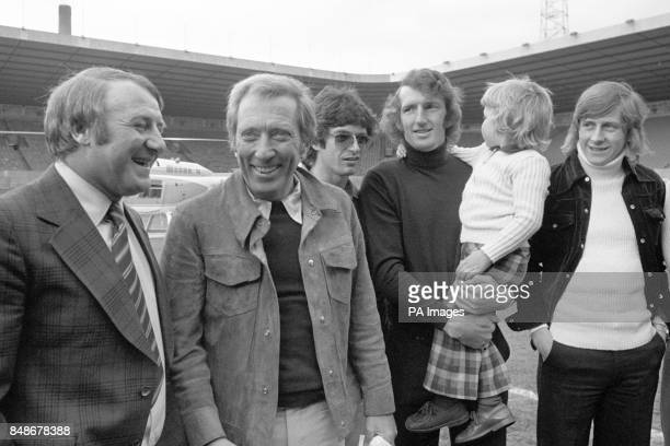 American singer Andy Williams meets Manchester United players at Old Trafford during his British tour including manager Tommy Docherty Willie Morgan...