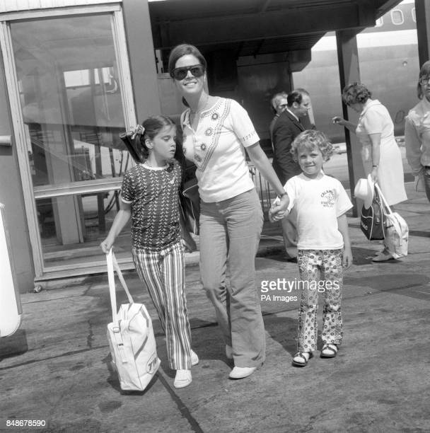 American singer Andy Williams' wife Claudine and their children Noelle and Christian as they leave London for a holiday in the South of France