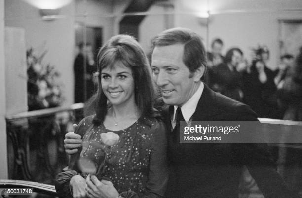 American singer Andy Williams with his wife French singer and actress Claudine Longet at the Savoy Hotel London 7th November 1970