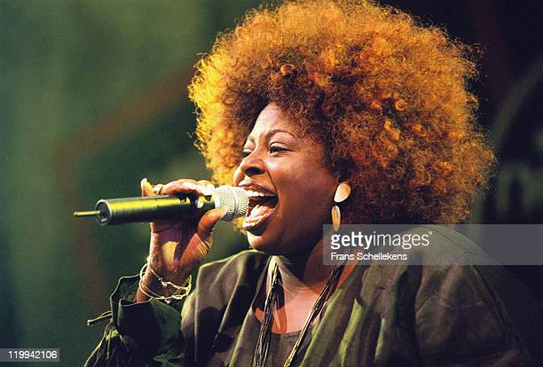 American singer Angie Stone performs live on stage at the North Sea Jazz festival in the Congresgebouw, The Hague, Netherlands on 14th July 2000.