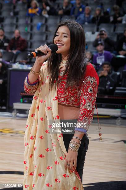 American singer Anjali Ranadive performs during the game between the Golden State Warriors and Sacramento Kings on January 5 2019 at Golden 1 Center...