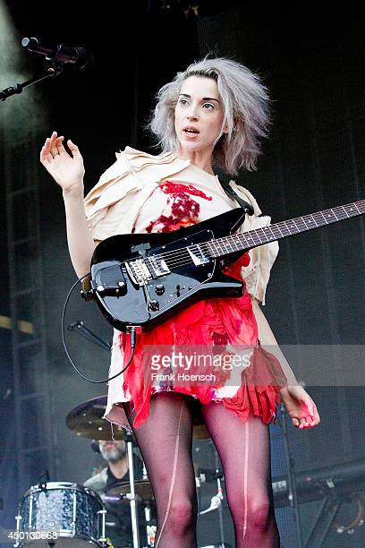 American singer Annie Clark aka St Vincent performs live in support of The National during a concert at the Zitadelle Spandau on June 5 2014 in...